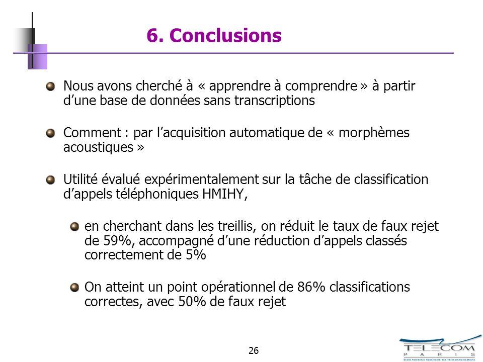 26 6. Conclusions Nous avons cherché à « apprendre à comprendre » à partir dune base de données sans transcriptions Comment : par lacquisition automat