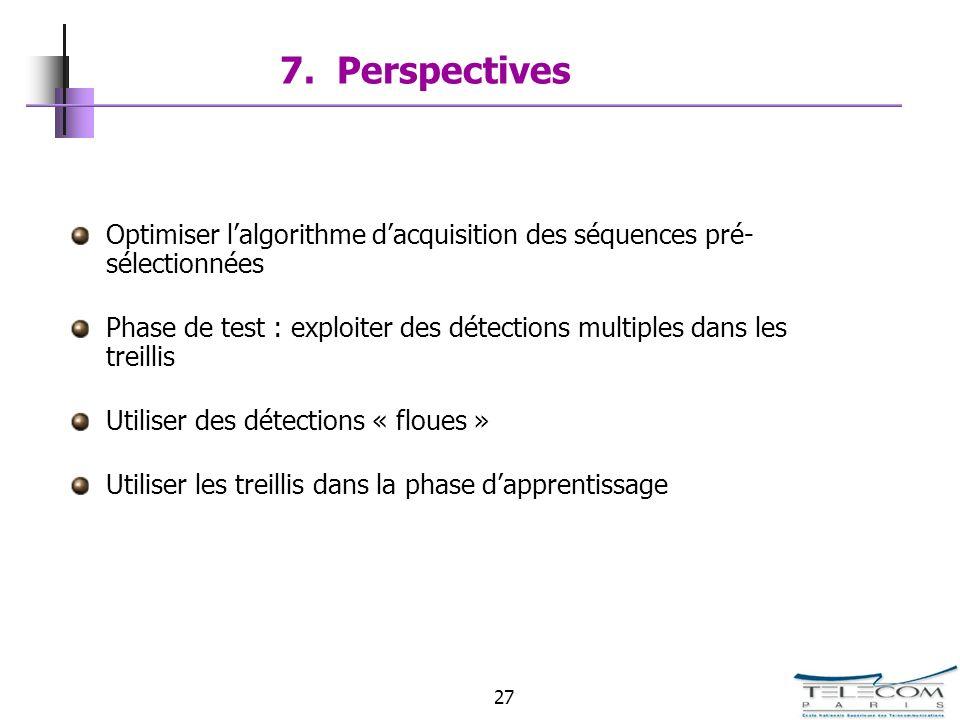 27 7. Perspectives Optimiser lalgorithme dacquisition des séquences pré- sélectionnées Phase de test : exploiter des détections multiples dans les tre
