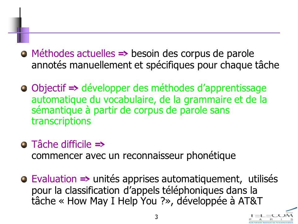 3 => Méthodes actuelles => besoin des corpus de parole annotés manuellement et spécifiques pour chaque tâche => Objectif => développer des méthodes da