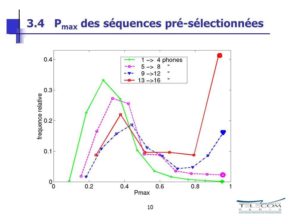 10 3.4 P max des séquences pré-sélectionnées