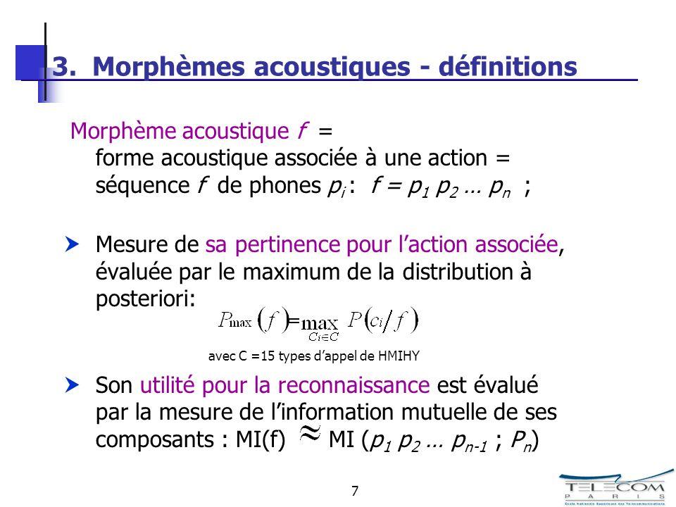 7 3. Morphèmes acoustiques - définitions Morphème acoustique f = forme acoustique associée à une action = séquence f de phones p i : f = p 1 p 2 … p n