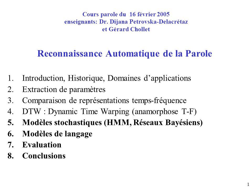 1 Cours parole du 16 février 2005 enseignants: Dr. Dijana Petrovska-Delacrétaz et Gérard Chollet Reconnaissance Automatique de la Parole 1.Introductio