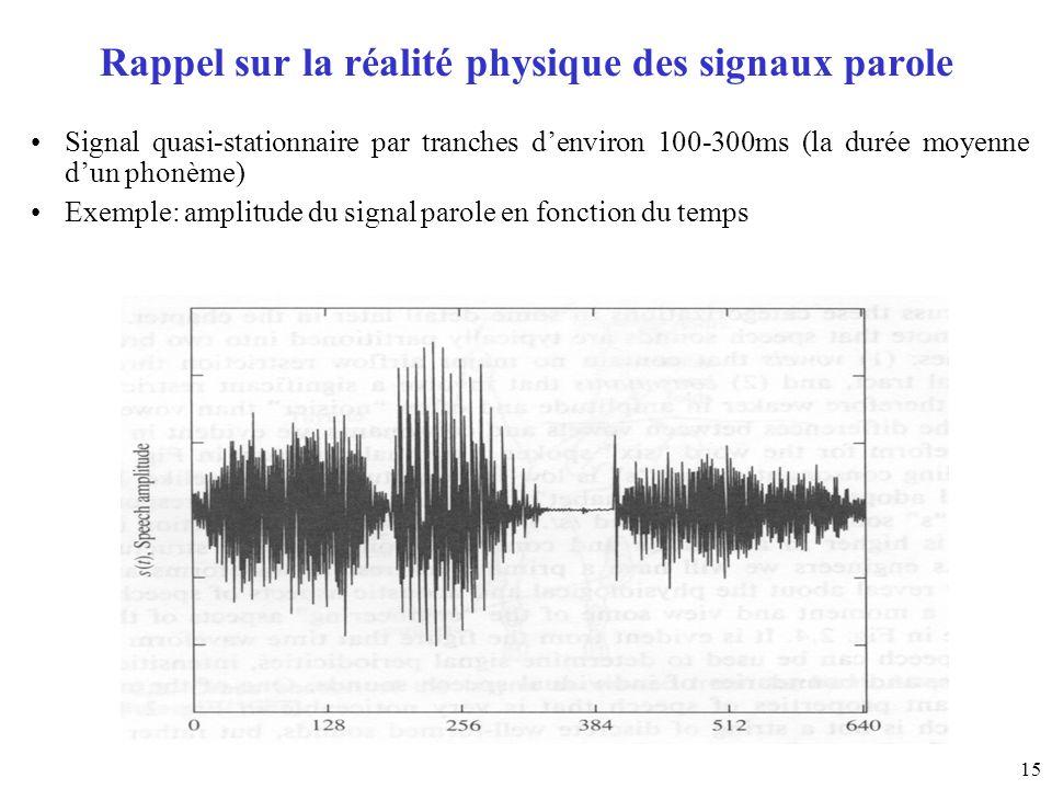 15 Rappel sur la réalité physique des signaux parole Signal quasi-stationnaire par tranches denviron 100-300ms (la durée moyenne dun phonème) Exemple: