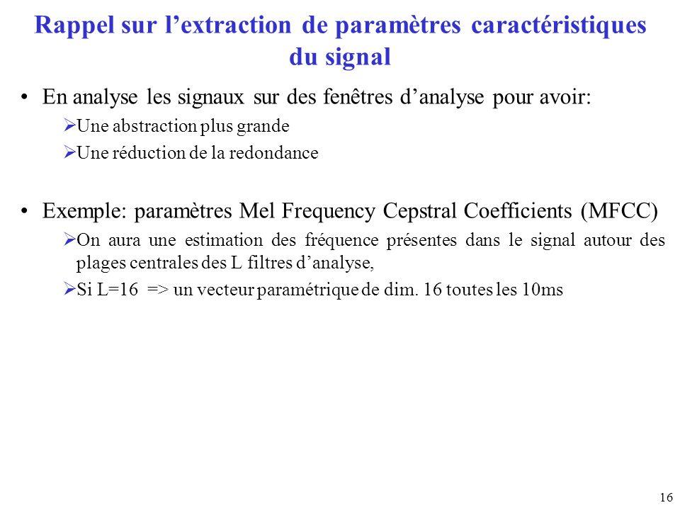 16 Rappel sur lextraction de paramètres caractéristiques du signal En analyse les signaux sur des fenêtres danalyse pour avoir: Une abstraction plus g
