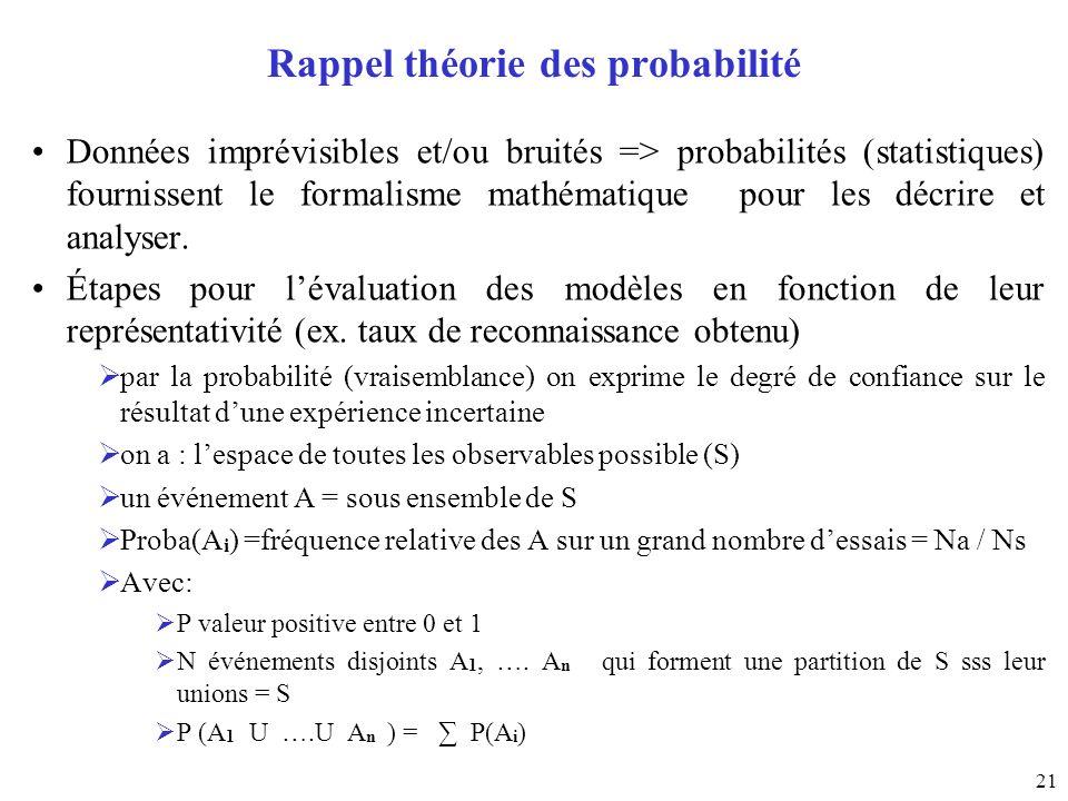 21 Rappel théorie des probabilité Données imprévisibles et/ou bruités => probabilités (statistiques) fournissent le formalisme mathématique pour les d