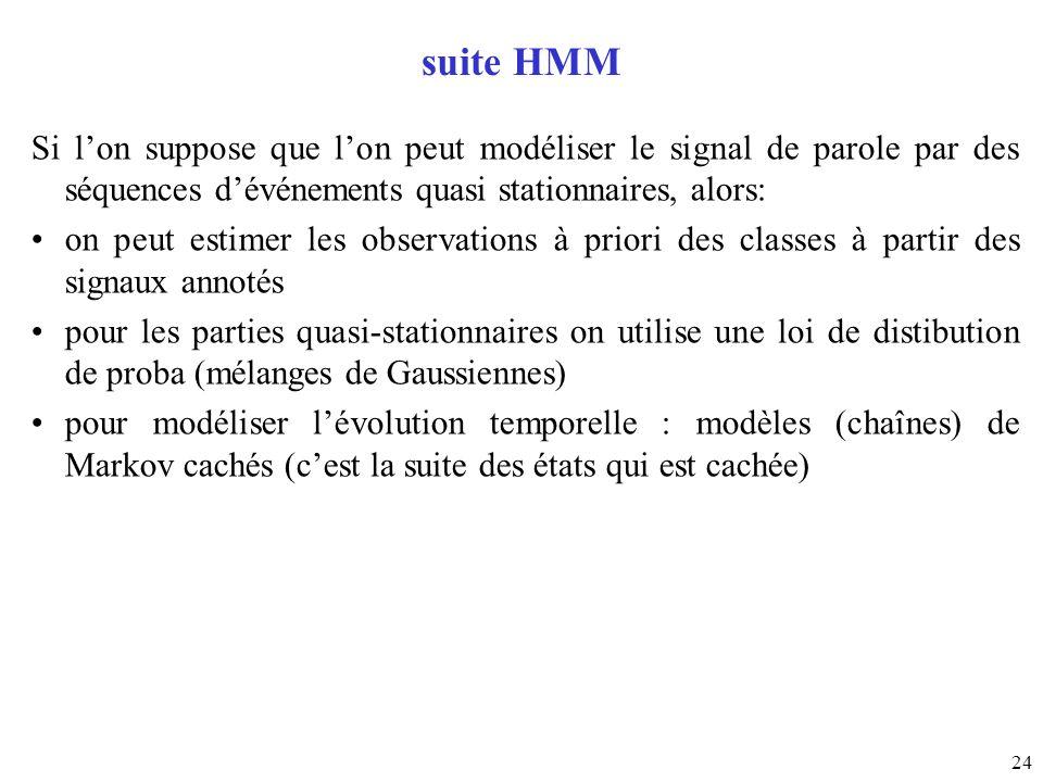 24 suite HMM Si lon suppose que lon peut modéliser le signal de parole par des séquences dévénements quasi stationnaires, alors: on peut estimer les o
