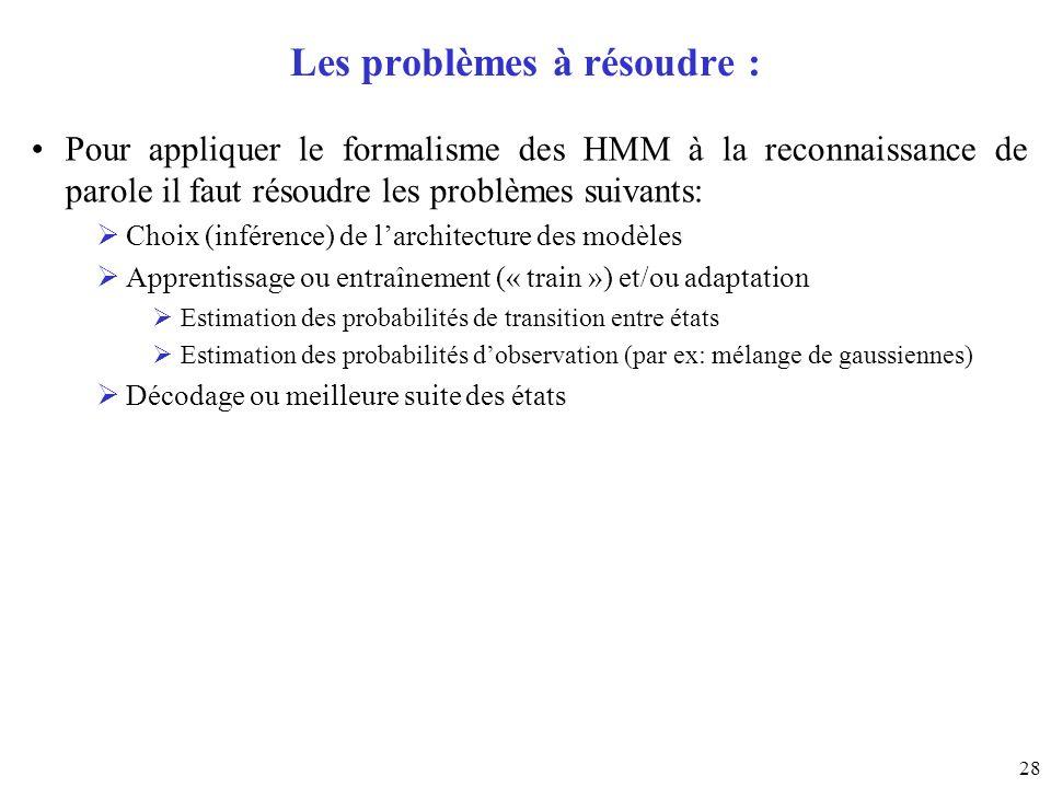 28 Les problèmes à résoudre : Pour appliquer le formalisme des HMM à la reconnaissance de parole il faut résoudre les problèmes suivants: Choix (infér