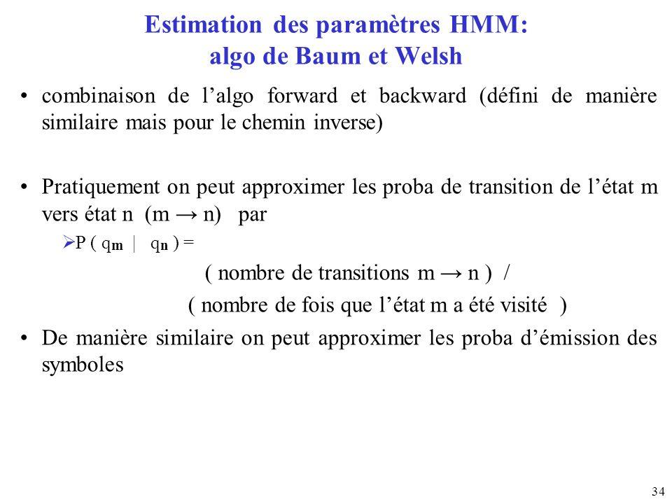 34 Estimation des paramètres HMM: algo de Baum et Welsh combinaison de lalgo forward et backward (défini de manière similaire mais pour le chemin inve