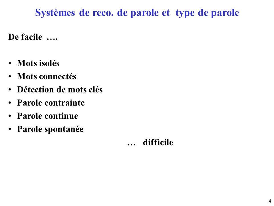 4 Systèmes de reco. de parole et type de parole De facile …. Mots isolés Mots connectés Détection de mots clés Parole contrainte Parole continue Parol