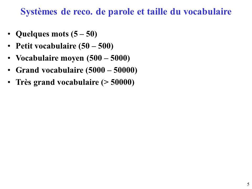 5 Systèmes de reco. de parole et taille du vocabulaire Quelques mots (5 – 50) Petit vocabulaire (50 – 500) Vocabulaire moyen (500 – 5000) Grand vocabu