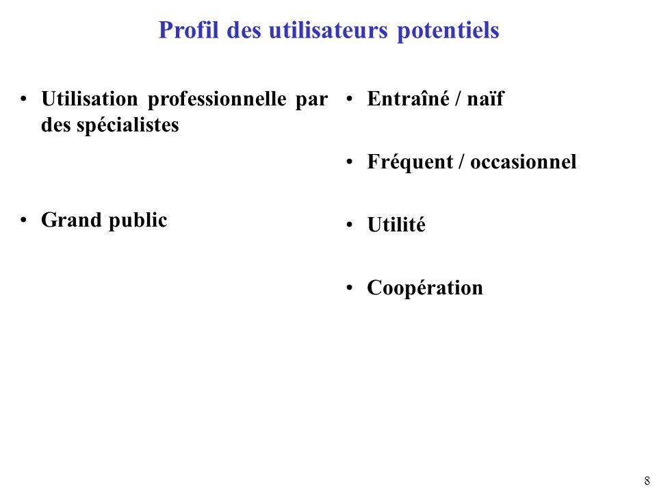 8 Profil des utilisateurs potentiels Utilisation professionnelle par des spécialistes Grand public Entraîné / naïf Fréquent / occasionnel Utilité Coop