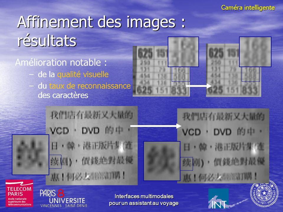 Interfaces multimodales pour un assistant au voyage Principe daffinement des images Caméra sur le PDA Vibration de la main Acquisition d une séquence d images Estimation des mouvements (sub-pixel) Image de meilleure résolution Recomposition en une seule image Caméra intelligente
