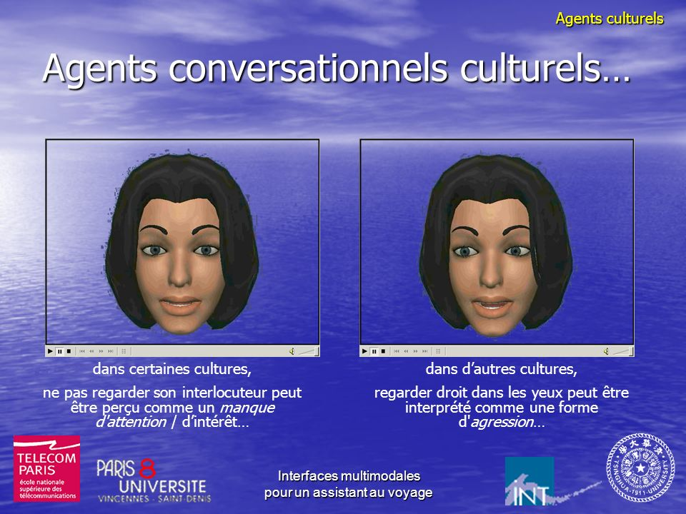 Interfaces multimodales pour un assistant au voyage Agents conversationnels culturels : représentation sémantique Base : représentation sémantique ind