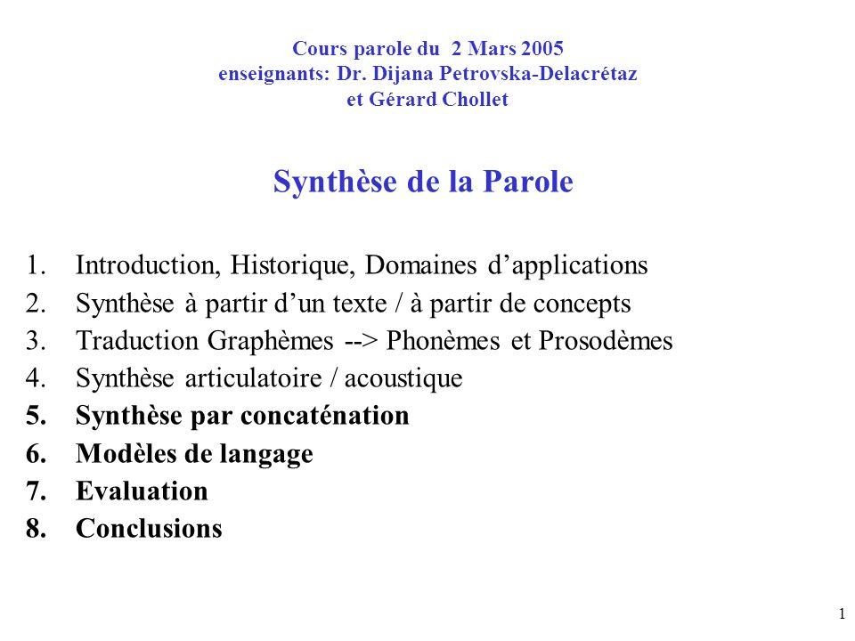 1 Cours parole du 2 Mars 2005 enseignants: Dr. Dijana Petrovska-Delacrétaz et Gérard Chollet Synthèse de la Parole 1.Introduction, Historique, Domaine