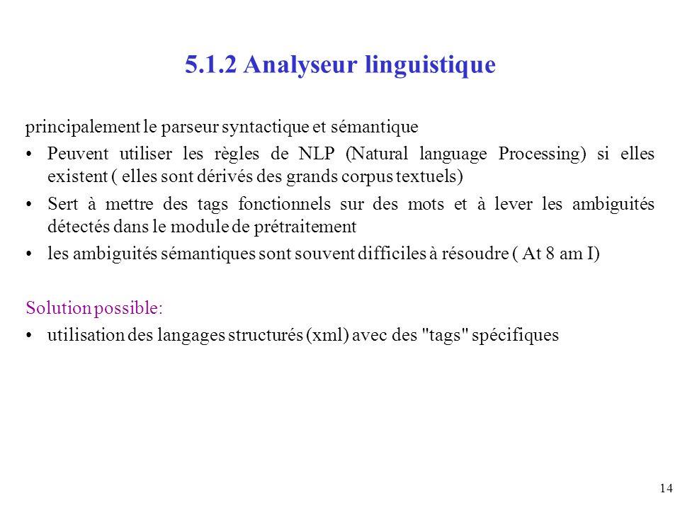 14 5.1.2 Analyseur linguistique principalement le parseur syntactique et sémantique Peuvent utiliser les règles de NLP (Natural language Processing) s