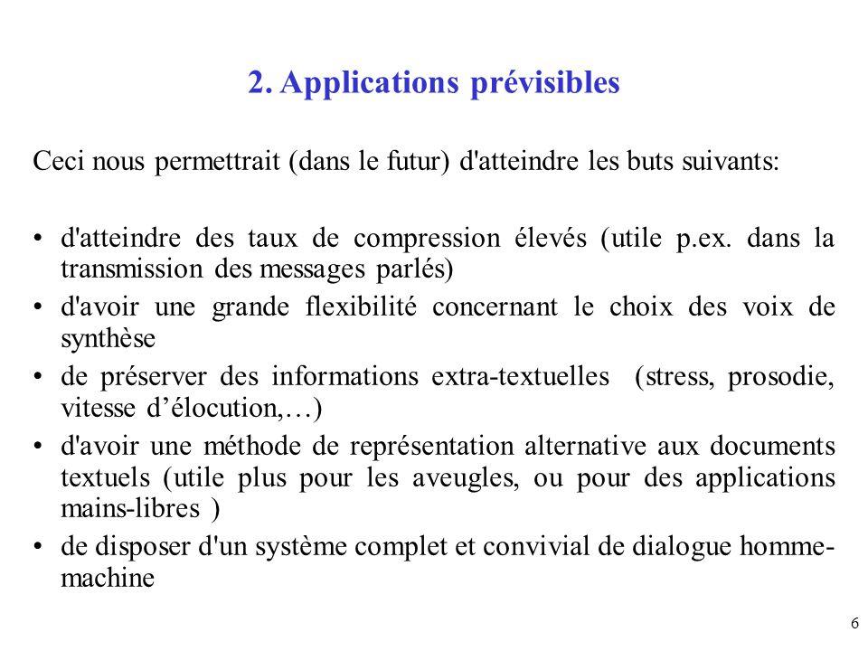 6 2. Applications prévisibles Ceci nous permettrait (dans le futur) d'atteindre les buts suivants: d'atteindre des taux de compression élevés (utile p