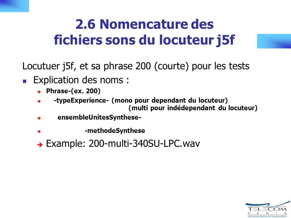 2.6 Nomencature des fichiers sons du locuteur j5f Locutuer j5f, et sa phrase 200 (courte) pour les tests Explication des noms : Phrase-(ex.