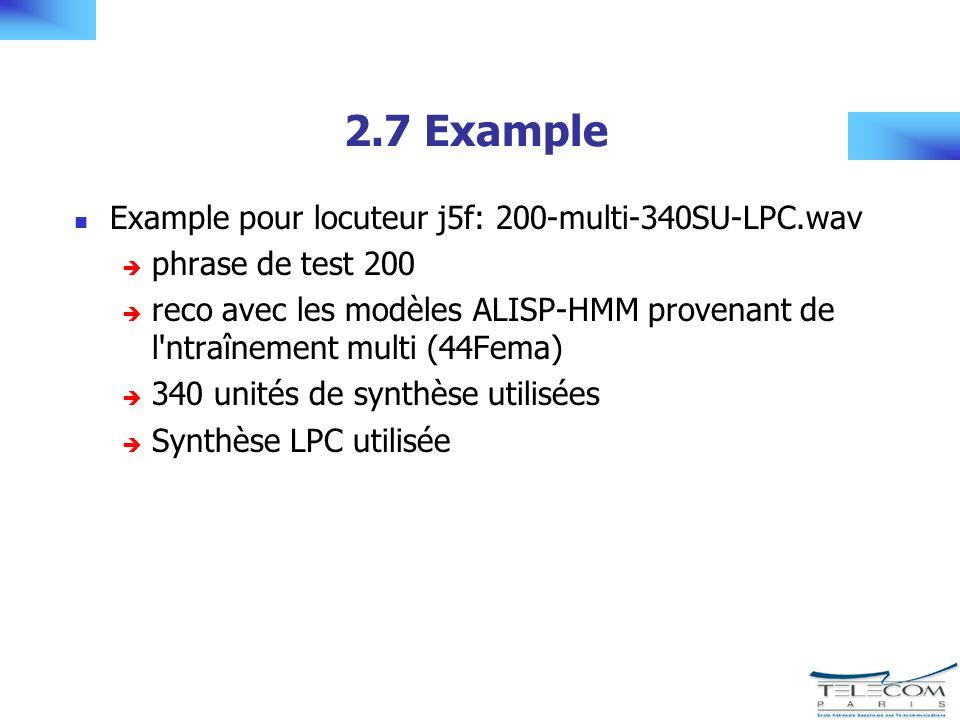 2.7 Example Example pour locuteur j5f: 200-multi-340SU-LPC.wav phrase de test 200 reco avec les modèles ALISP-HMM provenant de l ntraînement multi (44Fema) 340 unités de synthèse utilisées Synthèse LPC utilisée