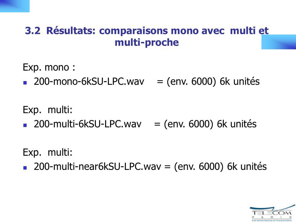 3.2 Résultats: comparaisons mono avec multi et multi-proche Exp.