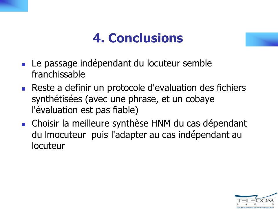 4. Conclusions Le passage indépendant du locuteur semble franchissable Reste a definir un protocole d'evaluation des fichiers synthétisées (avec une p