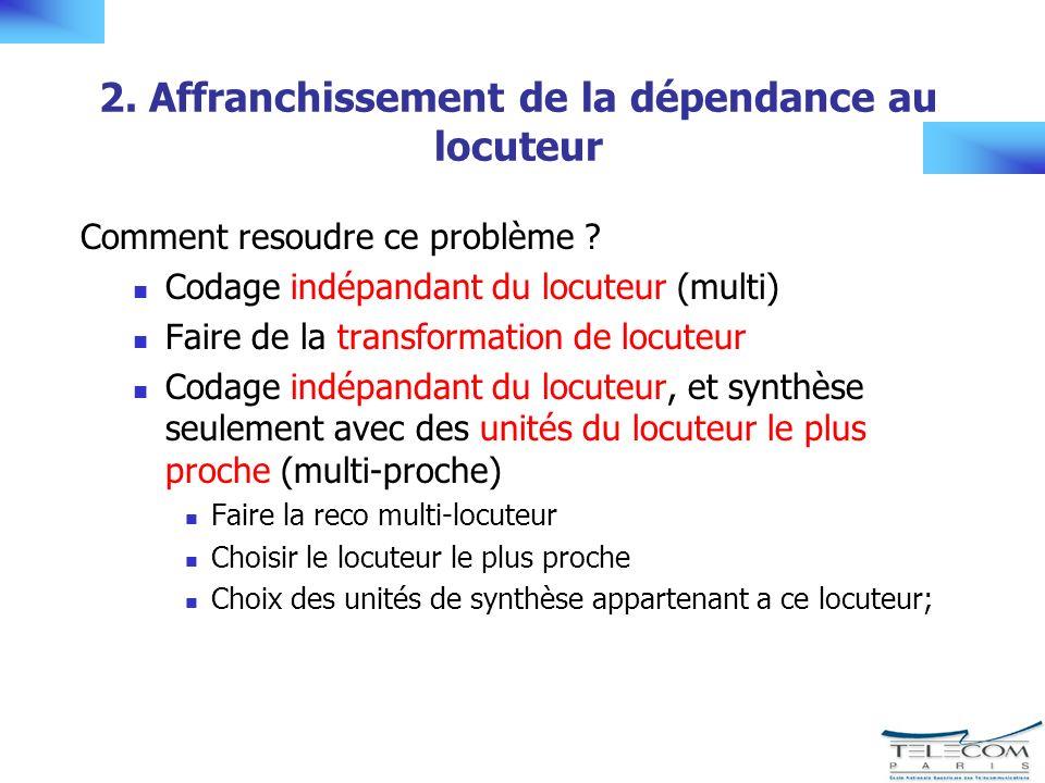 2. Affranchissement de la dépendance au locuteur Comment resoudre ce problème .