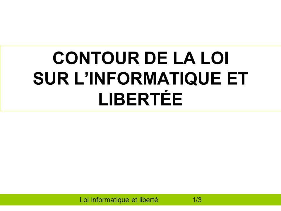 CONTOUR DE LA LOI SUR LINFORMATIQUE ET LIBERTÉE Loi informatique et liberté 1/3
