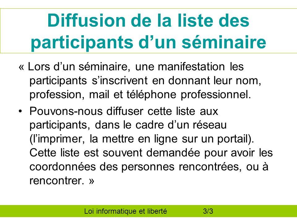Diffusion de la liste des participants dun séminaire « Lors dun séminaire, une manifestation les participants sinscrivent en donnant leur nom, profession, mail et téléphone professionnel.