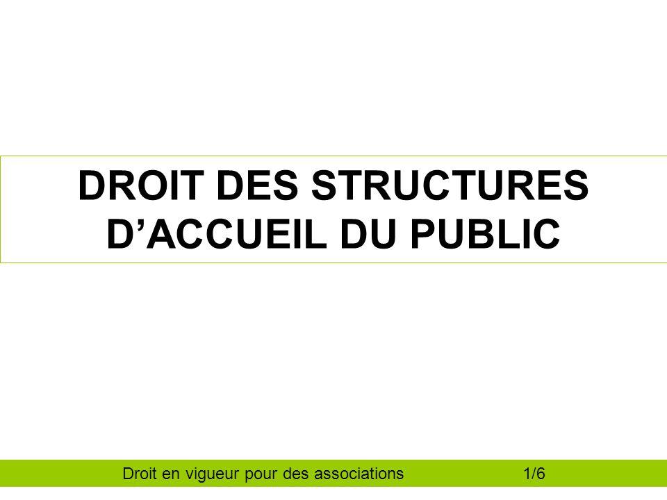 DROIT DES STRUCTURES DACCUEIL DU PUBLIC Droit en vigueur pour des associations 1/6
