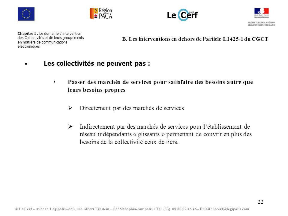 22 B. Les interventions en dehors de larticle L1425-1 du CGCT Les collectivités ne peuvent pas : Passer des marchés de services pour satisfaire des be