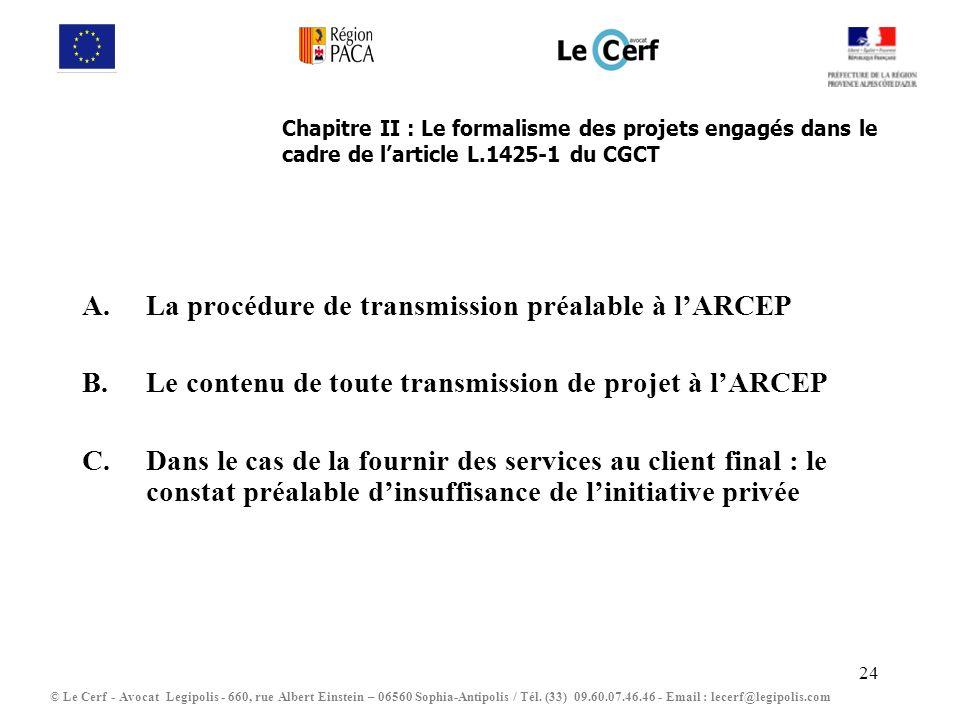24 Chapitre II : Le formalisme des projets engagés dans le cadre de larticle L.1425-1 du CGCT A.La procédure de transmission préalable à lARCEP B.Le c
