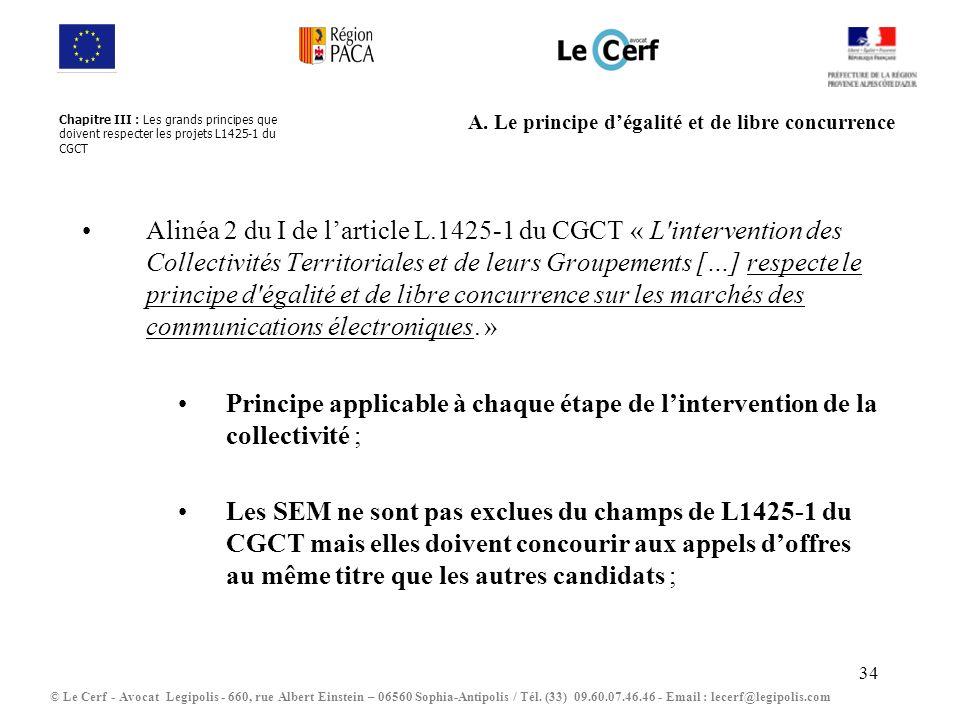 34 A. Le principe dégalité et de libre concurrence Alinéa 2 du I de larticle L.1425-1 du CGCT « L'intervention des Collectivités Territoriales et de l