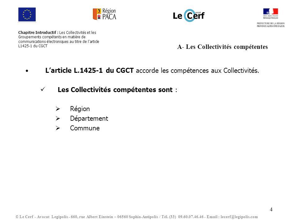 5 B- Les Groupements de Collectivités compétents Larticle L.1425-1 du CGCT accorde les compétences aux Groupements de Collectivités.
