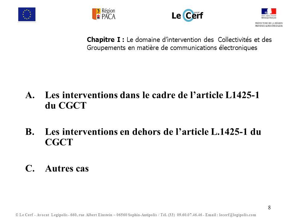 8 Chapitre I : Le domaine dintervention des Collectivités et des Groupements en matière de communications électroniques A.Les interventions dans le ca