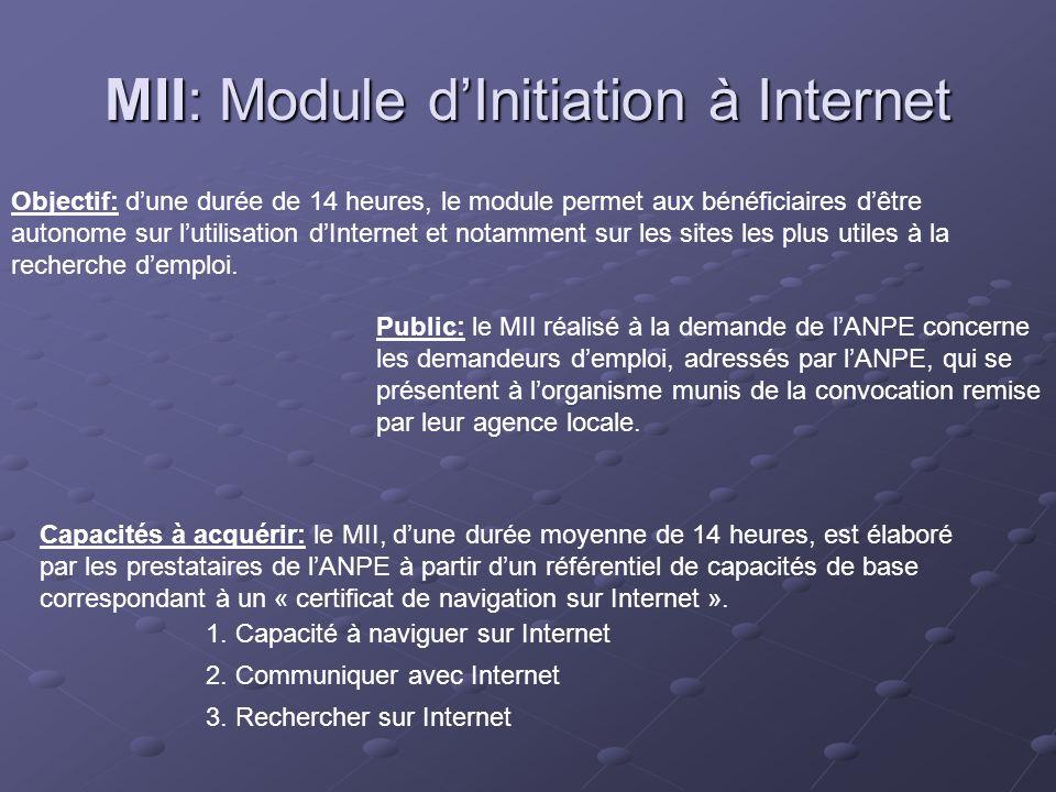 MII: Module dInitiation à Internet Objectif: dune durée de 14 heures, le module permet aux bénéficiaires dêtre autonome sur lutilisation dInternet et notamment sur les sites les plus utiles à la recherche demploi.