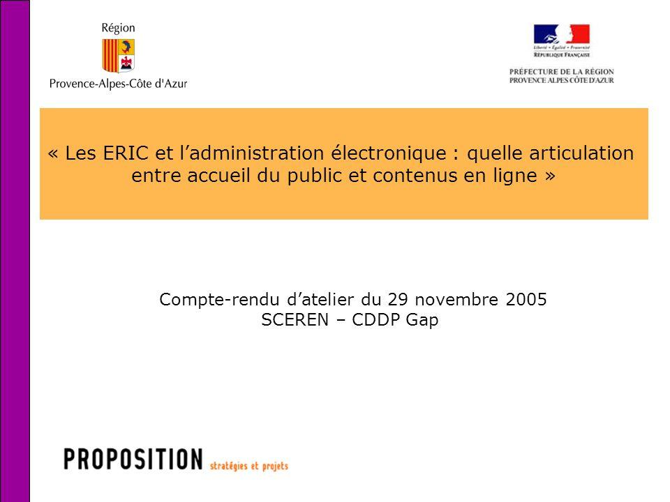 1 « Les ERIC et ladministration électronique : quelle articulation entre accueil du public et contenus en ligne » Compte-rendu datelier du 29 novembre 2005 SCEREN – CDDP Gap
