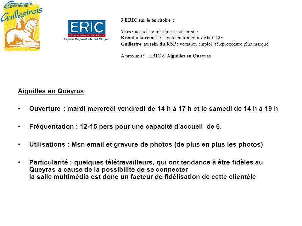 Aiguilles en Queyras Ouverture : mardi mercredi vendredi de 14 h à 17 h et le samedi de 14 h à 19 h Fréquentation : 12-15 pers pour une capacité d accueil de 6.