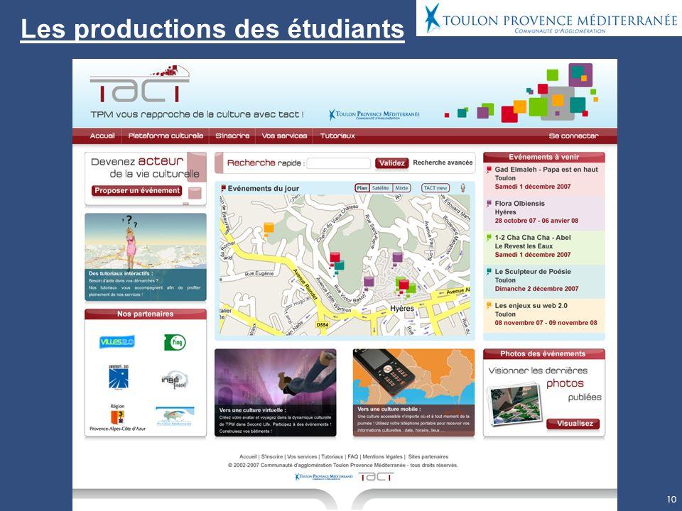 10 Les productions des étudiants