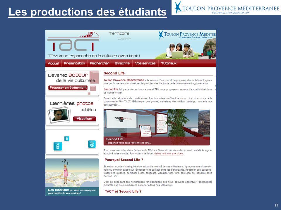 11 Les productions des étudiants