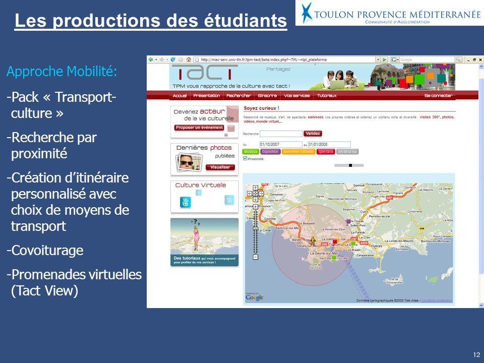 12 Les productions des étudiants Approche Mobilité: -Pack « Transport- culture » -Recherche par proximité -Création ditinéraire personnalisé avec choix de moyens de transport -Covoiturage -Promenades virtuelles (Tact View)