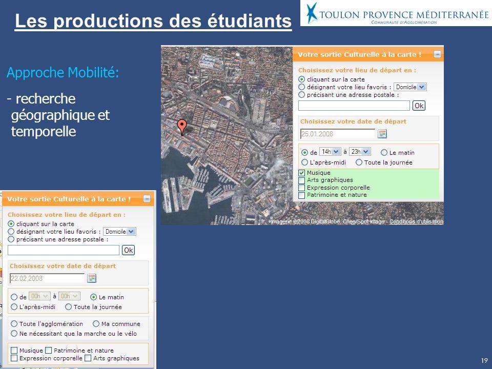 19 Les productions des étudiants Approche Mobilité: - recherche géographique et temporelle