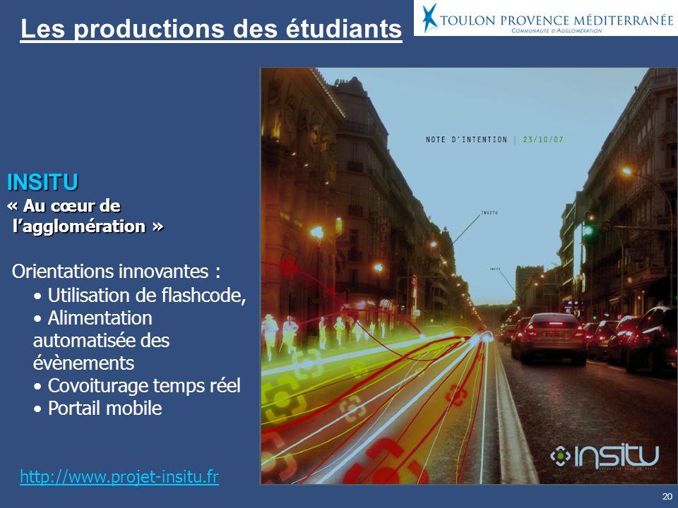 20 Les productions des étudiants INSITU « Au cœur de lagglomération » Orientations innovantes : Utilisation de flashcode, Alimentation automatisée des