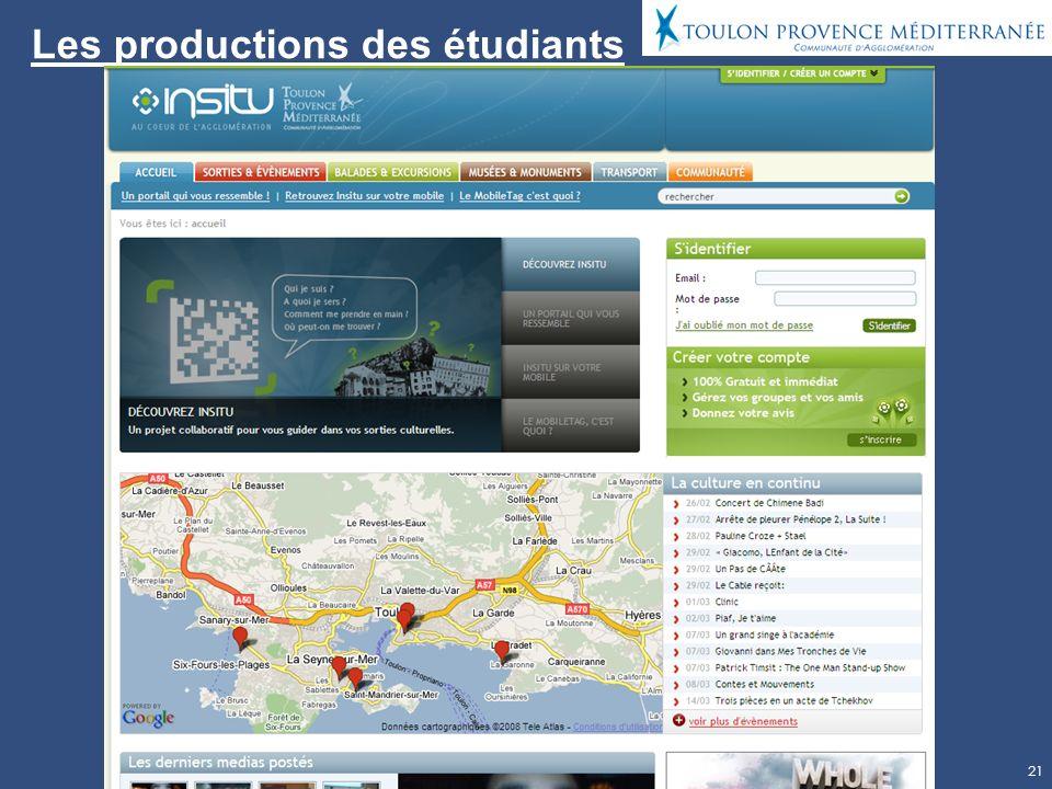 21 Les productions des étudiants