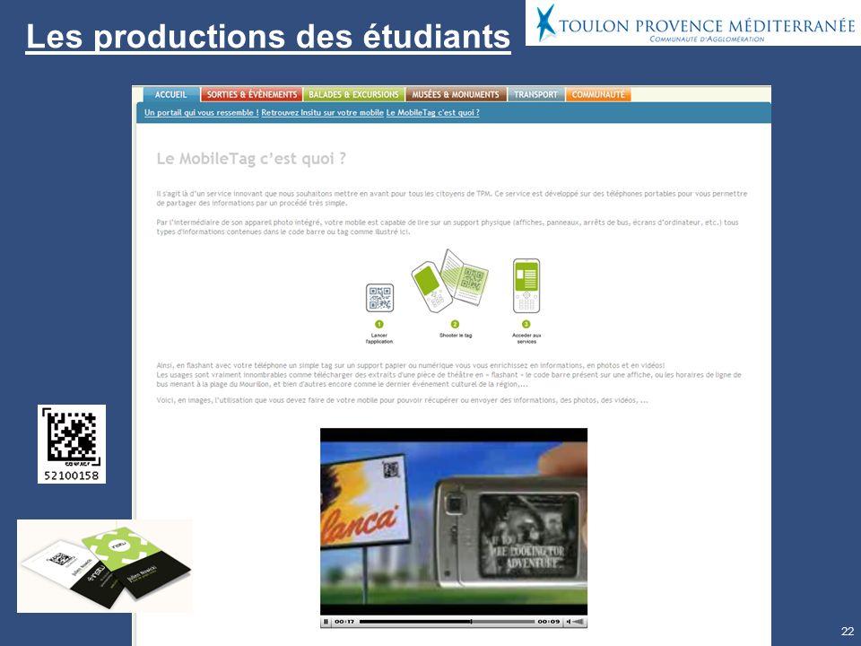 22 Les productions des étudiants