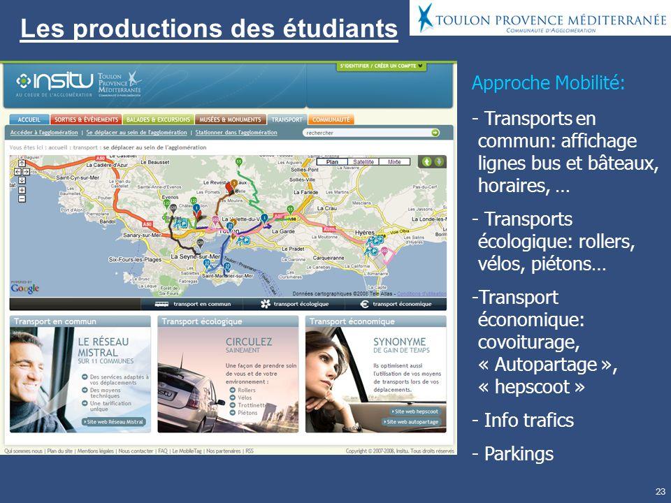 23 Les productions des étudiants Approche Mobilité: - Transports en commun: affichage lignes bus et bâteaux, horaires, … - Transports écologique: rollers, vélos, piétons… -Transport économique: covoiturage, « Autopartage », « hepscoot » - Info trafics - Parkings