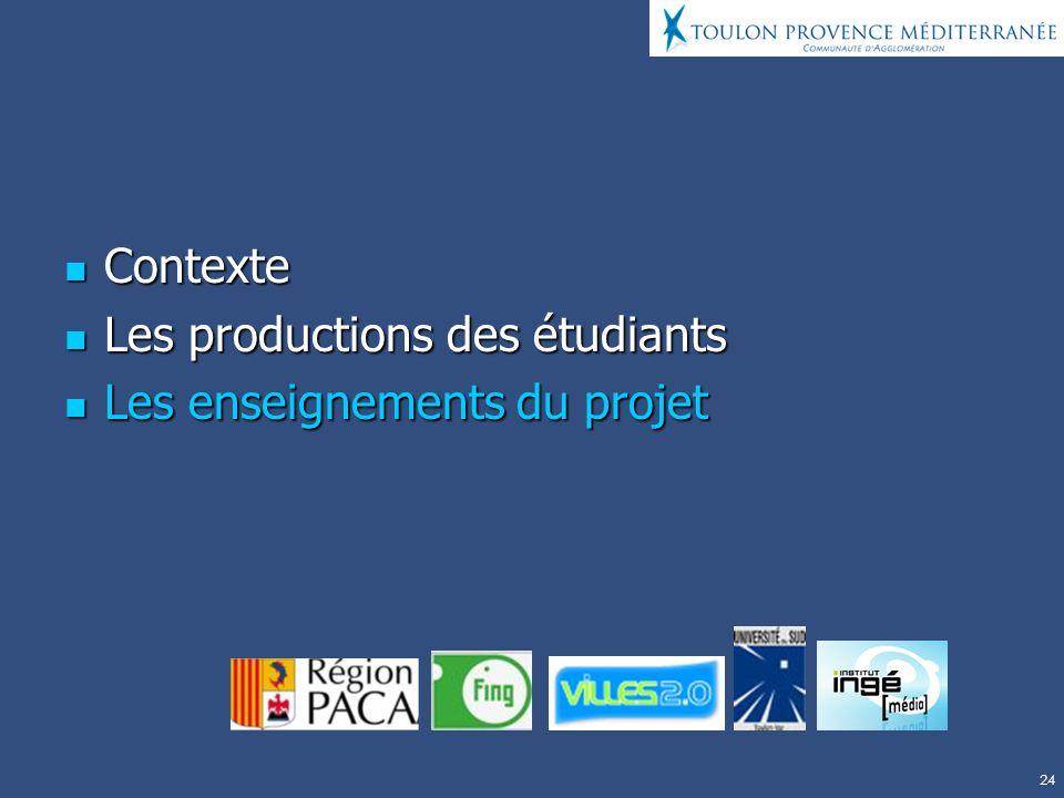 24 Contexte Contexte Les productions des étudiants Les productions des étudiants Les enseignements du projet Les enseignements du projet