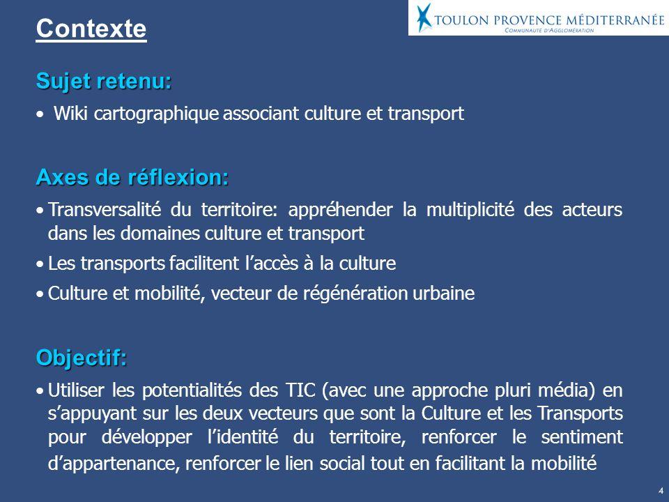 4 Contexte Sujet retenu: Wiki cartographique associant culture et transport Axes de réflexion: Transversalité du territoire: appréhender la multiplici