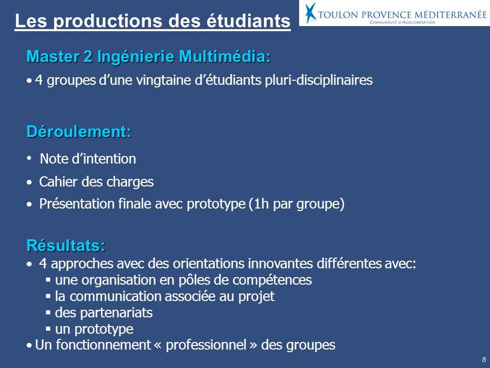 8 Les productions des étudiants Master 2 Ingénierie Multimédia: 4 groupes dune vingtaine détudiants pluri-disciplinairesDéroulement: Note dintention C