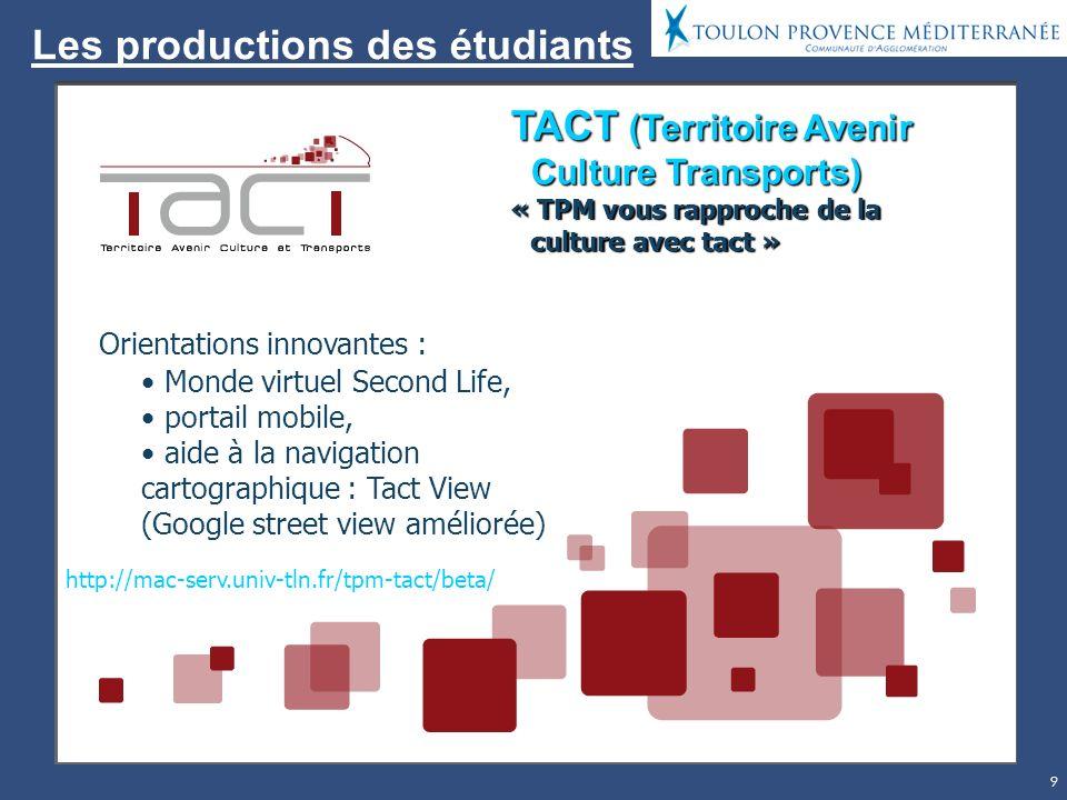 9 Les productions des étudiants TACT (Territoire Avenir Culture Transports) « TPM vous rapproche de la culture avec tact » Orientations innovantes : Monde virtuel Second Life, portail mobile, aide à la navigation cartographique : Tact View (Google street view améliorée) http://mac-serv.univ-tln.fr/tpm-tact/beta/