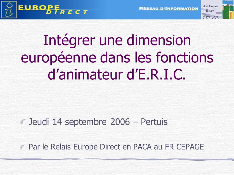 Intégrer une dimension européenne dans les fonctions danimateur dE.R.I.C.