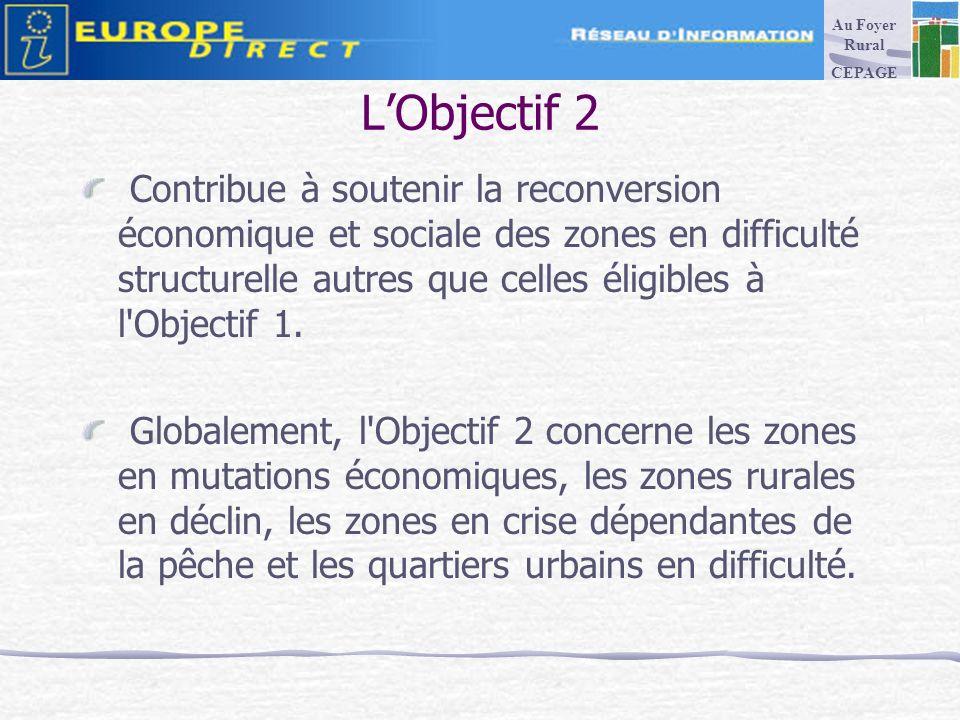 LObjectif 2 Contribue à soutenir la reconversion économique et sociale des zones en difficulté structurelle autres que celles éligibles à l Objectif 1.